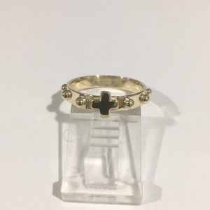 Jewelry - 10k Yellow Gold Cross Wedding Band Ring With Balls